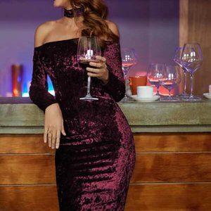Burgundy Midi Crushed Velvet Choker Dress in L
